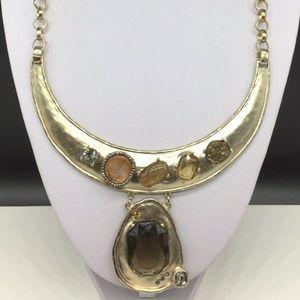 Chico's Gold Rhinestone Pendant Choker Necklace